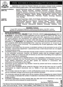 The Women University Multan Job 2019 For Teaching